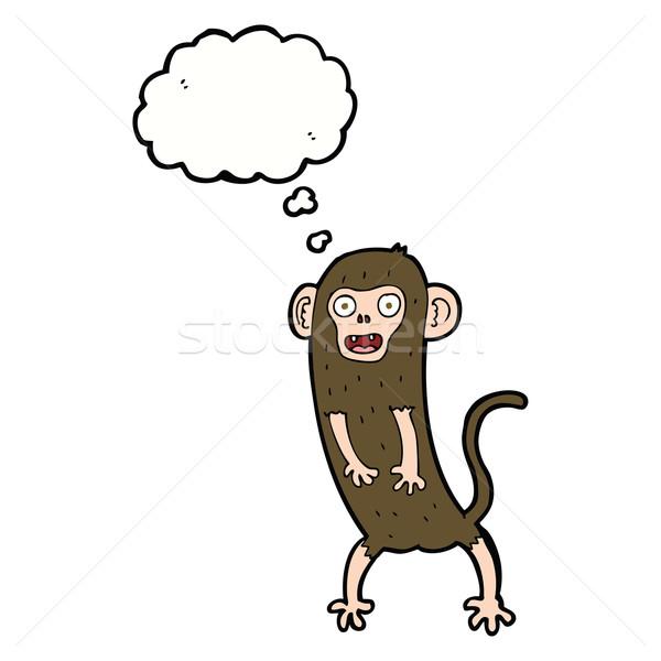 Cartoon crazy małpa bubble myśl strony projektu Zdjęcia stock © lineartestpilot