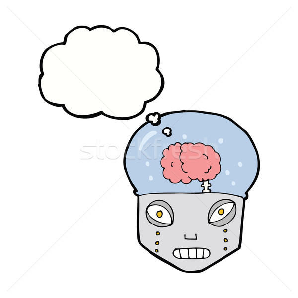 cartoon spooky robot head with thought bubble Stock photo © lineartestpilot