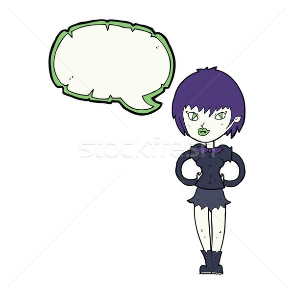 cartoon pretty vampire girl with speech bubble Stock photo © lineartestpilot
