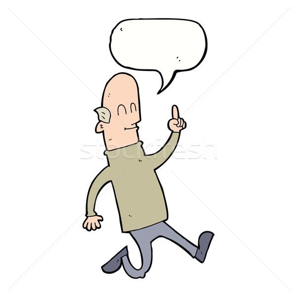 Desenho animado careca homem idéia balão de fala mão Foto stock © lineartestpilot