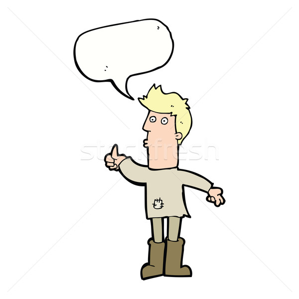 cartoon poor man with speech bubble Stock photo © lineartestpilot