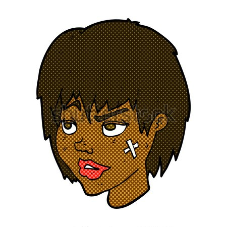 Fumetto cartoon infastidito ragazza grande capelli Foto d'archivio © lineartestpilot