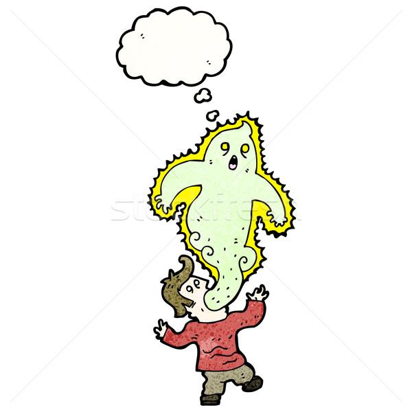 Desenho animado homem fantasma textura mão feliz Foto stock © lineartestpilot