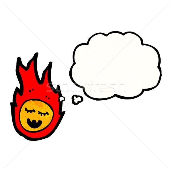 Desenho animado fireball balão de pensamento textura mão feliz Foto stock © lineartestpilot