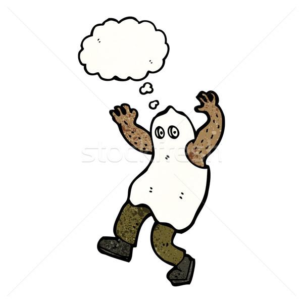 Desenho animado fantasma traje retro pensando desenho Foto stock © lineartestpilot