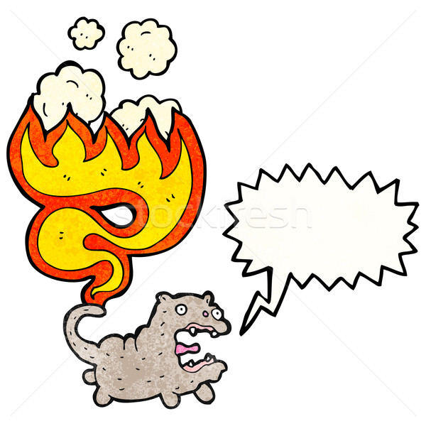 Kot ogon ognia sztuki retro rysunek Zdjęcia stock © lineartestpilot