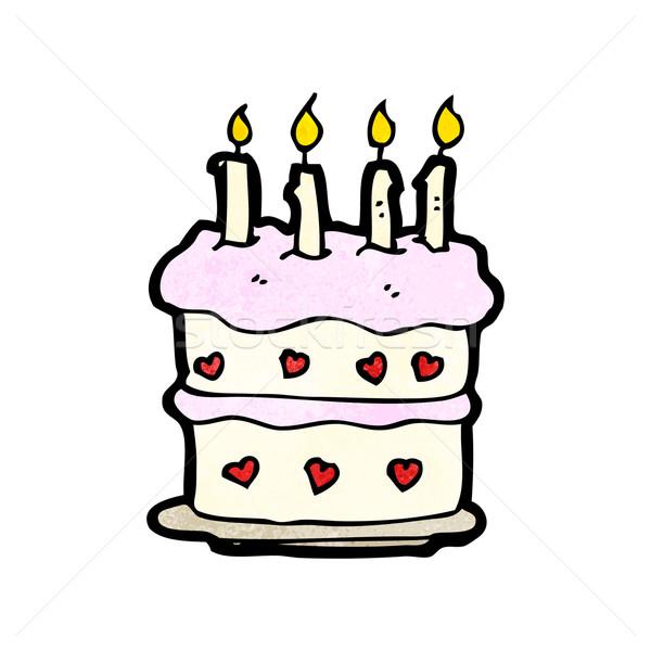 Cartoon именинный торт искусства торт ретро свечей Сток-фото © lineartestpilot