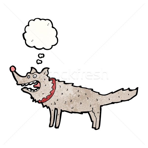 Karikatür kurt Retro çizim fikir kabarcık Stok fotoğraf © lineartestpilot
