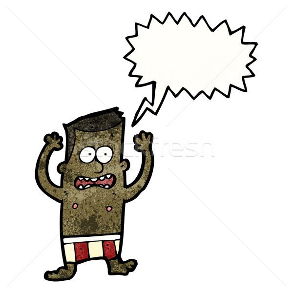 Cartoon embarrassé homme rétro dessin sous-vêtements Photo stock © lineartestpilot