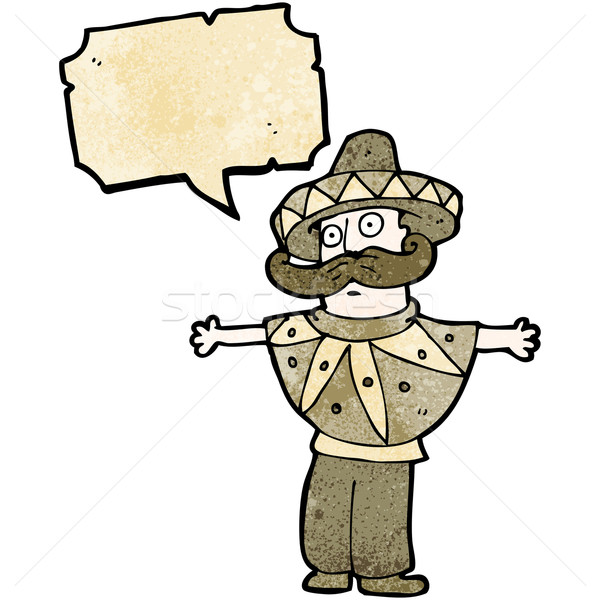 cartoon man in mexican poncho costume Stock photo © lineartestpilot