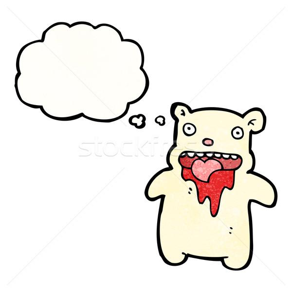 Cartoon orso polare sangue arte bocca retro Foto d'archivio © lineartestpilot