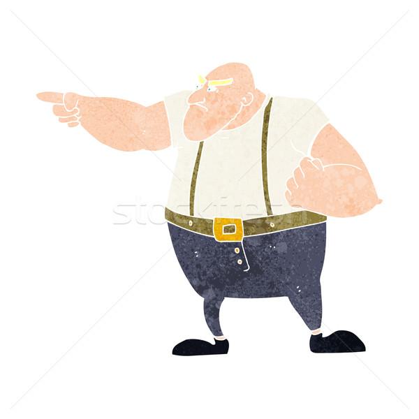 Cartoon boos taai vent wijzend hand Stockfoto © lineartestpilot