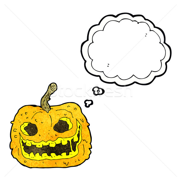 cartoon spooky pumpkin with thought bubble Stock photo © lineartestpilot