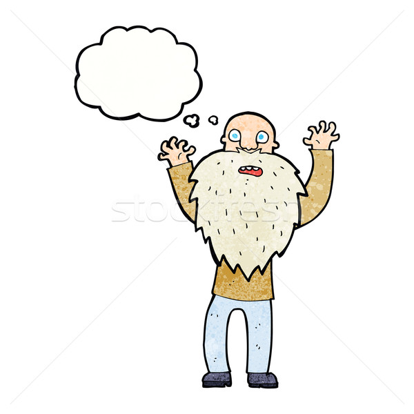cartoon frightened old man with beard with thought bubble Stock photo © lineartestpilot