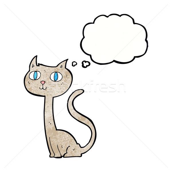 Rajz macska gondolatbuborék kéz terv őrült Stock fotó © lineartestpilot