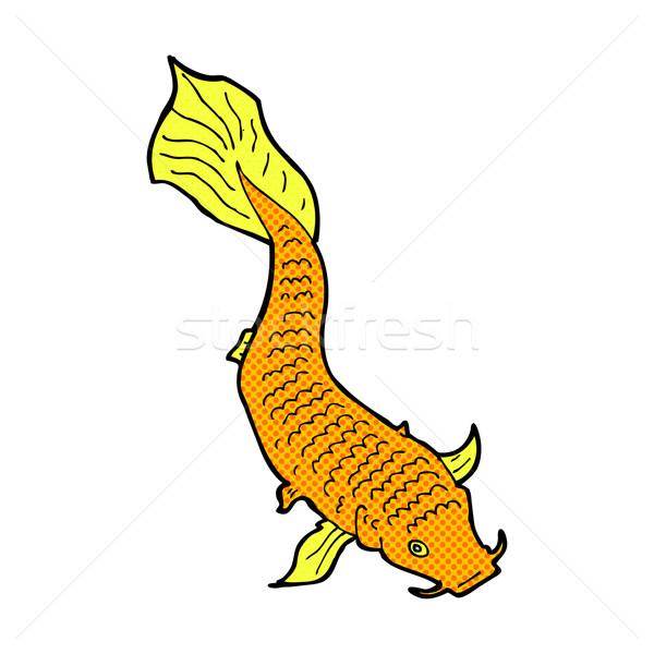 Komische cartoon vis retro stijl Stockfoto © lineartestpilot