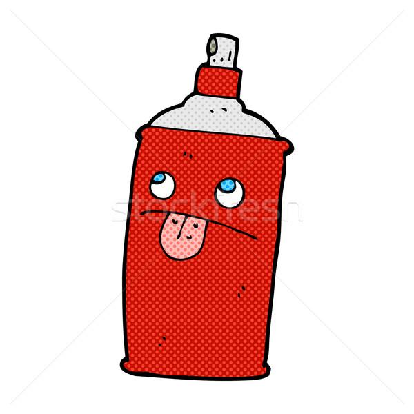 Cômico desenho animado spray lata retro Foto stock © lineartestpilot