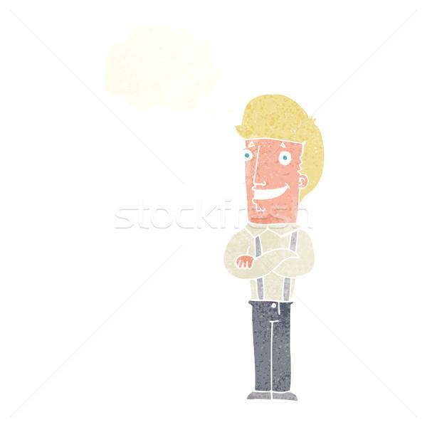 Cartoon dumny człowiek bubble myśl strony projektu Zdjęcia stock © lineartestpilot