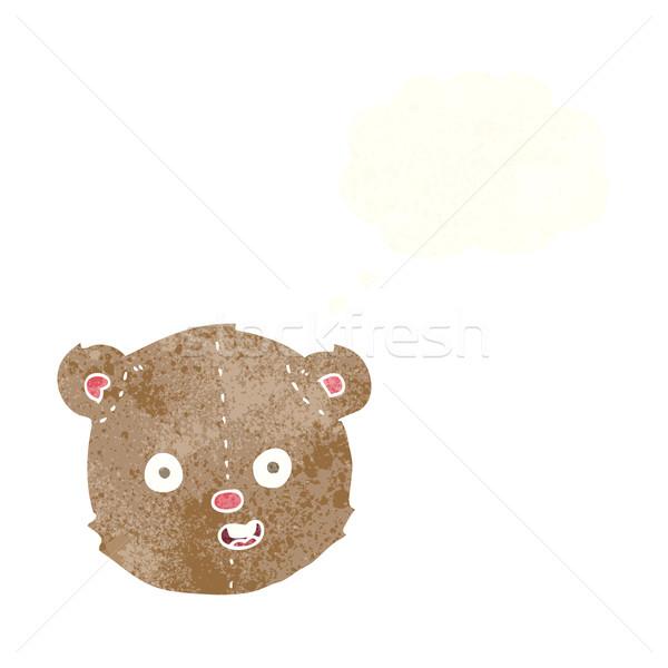 Cartoon orsacchiotto testa bolla di pensiero mano felice Foto d'archivio © lineartestpilot