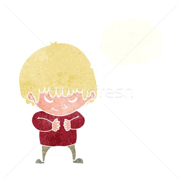 Cartoon verlegen jongen gedachte bel hand gelukkig Stockfoto © lineartestpilot