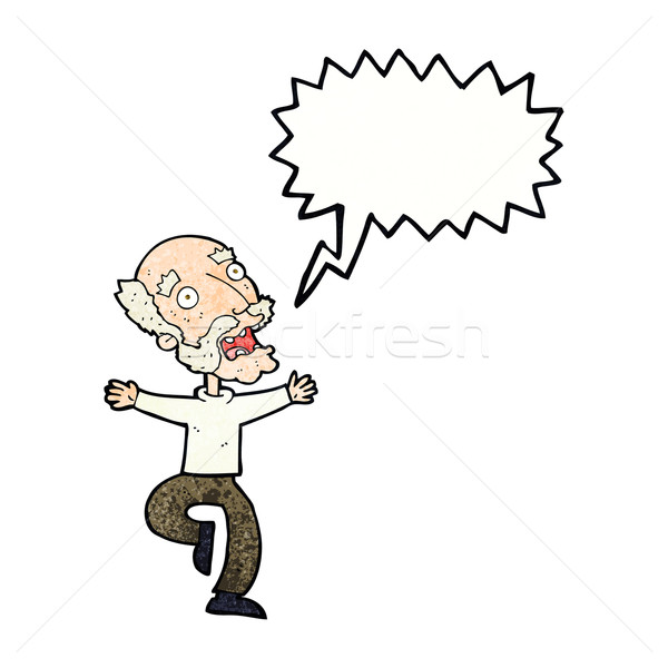cartoon old man having a fright with speech bubble Stock photo © lineartestpilot