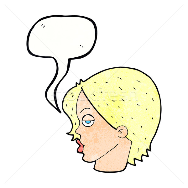 cartoon woman raising eyebrow with speech bubble Stock photo © lineartestpilot