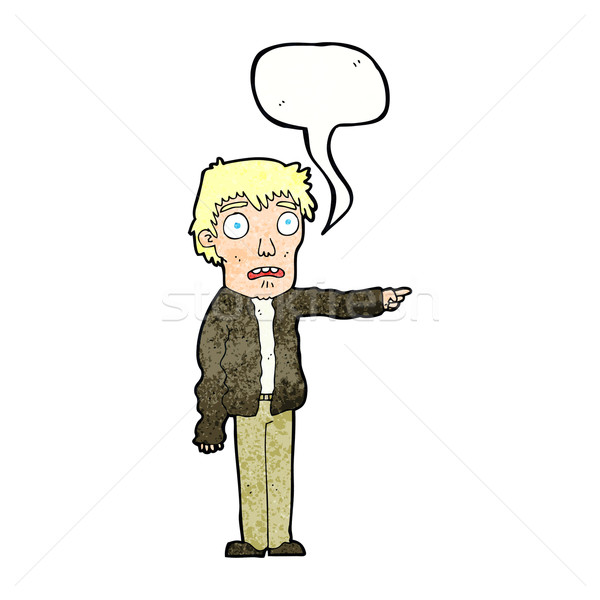 cartoon terrified man pointing with speech bubble Stock photo © lineartestpilot