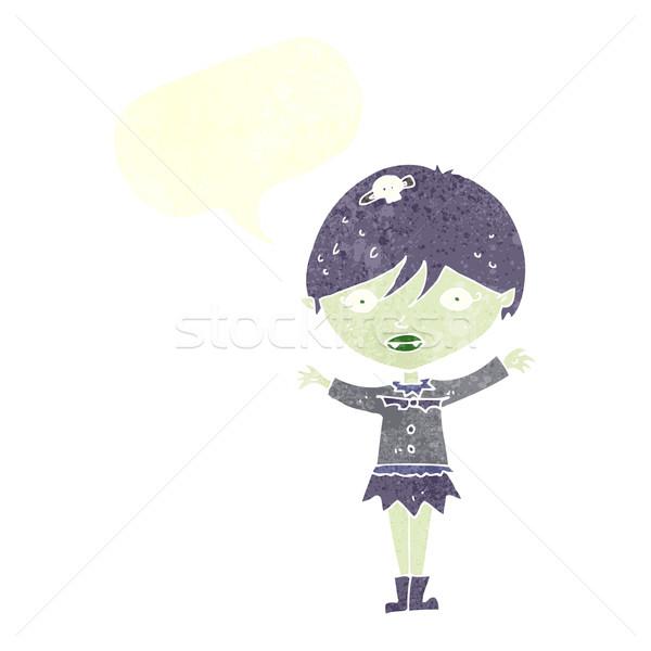 Desenho animado vampiro menina balão de fala mão Foto stock © lineartestpilot