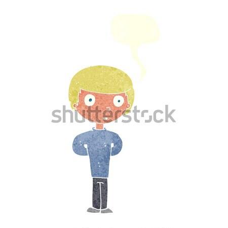 Cartoon geërgerd oude man tekstballon hand man Stockfoto © lineartestpilot