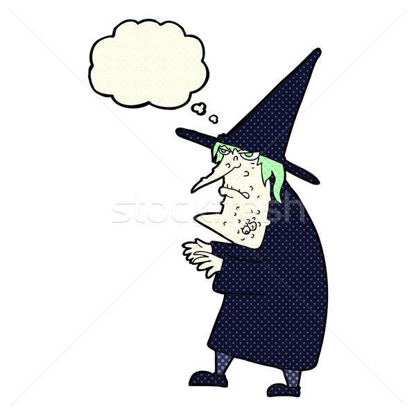 Cartoon уродливые старые ведьмой мысли пузырь стороны Сток-фото © lineartestpilot