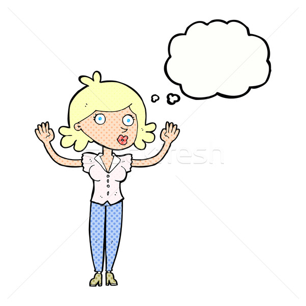 Cartoon женщину мысли пузырь рук стороны дизайна Сток-фото © lineartestpilot