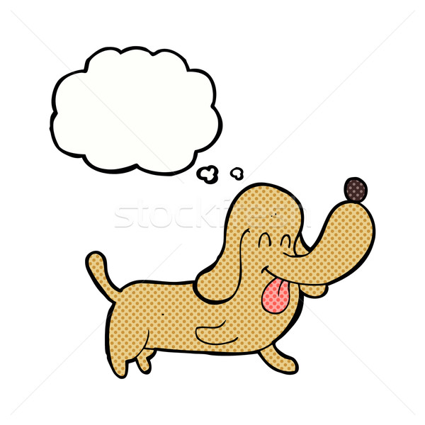 Karikatür mutlu köpek düşünce balonu el dizayn Stok fotoğraf © lineartestpilot