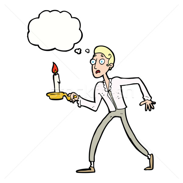 cartoon frightened man walking with candlestick with thought bub Stock photo © lineartestpilot