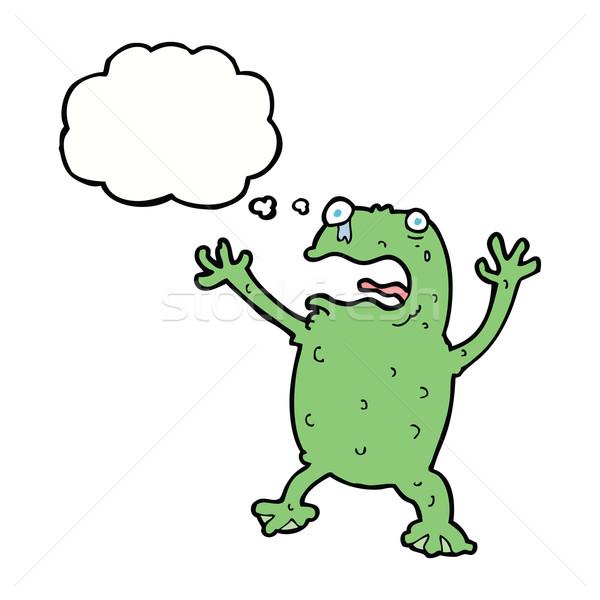 Cartoon przestraszony żaba bubble myśl strony projektu Zdjęcia stock © lineartestpilot