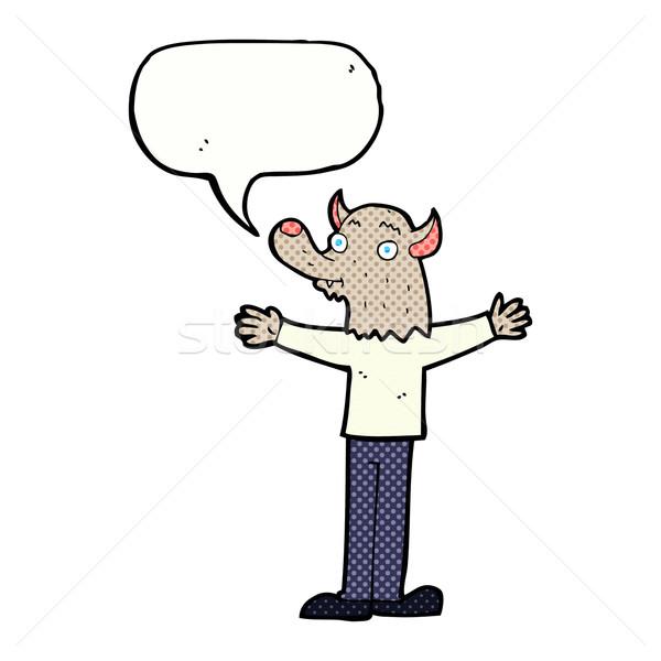 Karikatür dostça kurt adam konuşma balonu el mutlu Stok fotoğraf © lineartestpilot