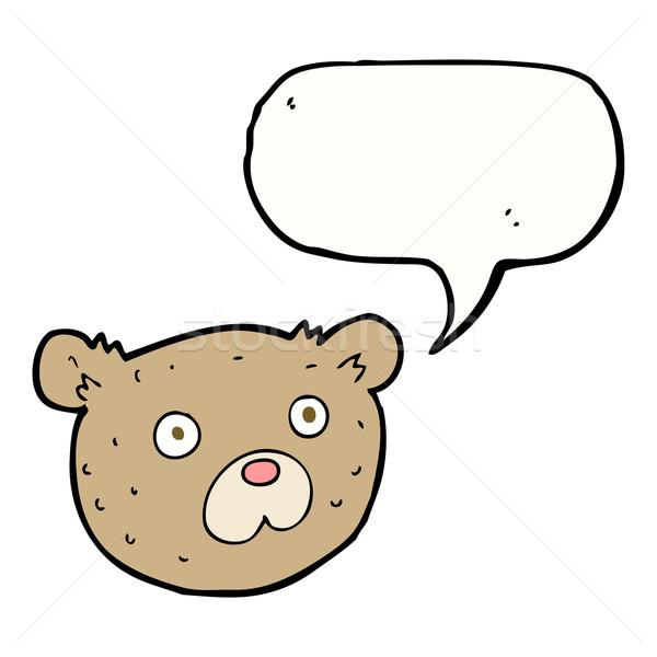 Cartoon teddybeer tekstballon hand gezicht ontwerp Stockfoto © lineartestpilot