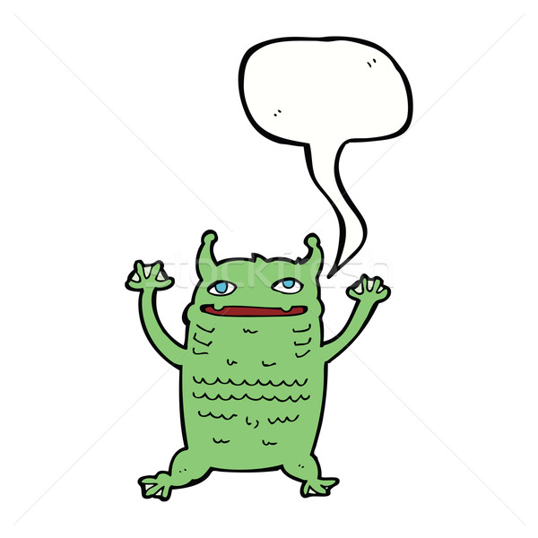 Cartoon мало монстр речи пузырь стороны дизайна Сток-фото © lineartestpilot