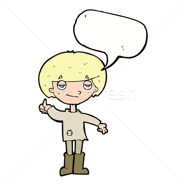 cartoon boy in poor clothing giving thumbs up symbol with speech Stock photo © lineartestpilot