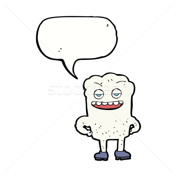 cartoon tooth looking smug with speech bubble Stock photo © lineartestpilot