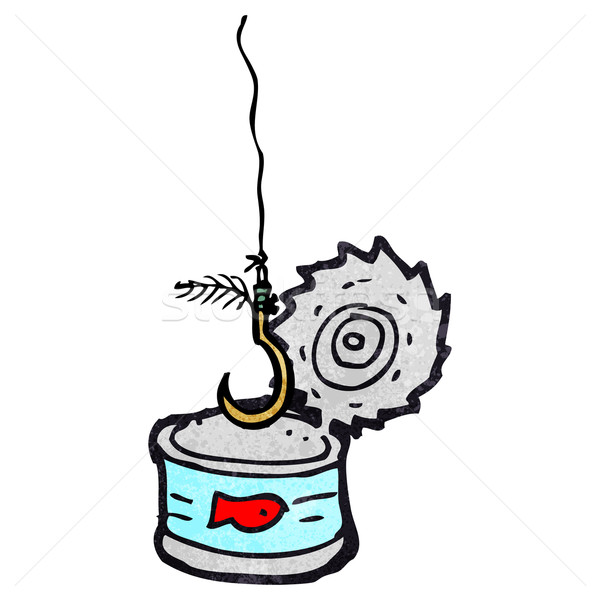 tuna can and fish hook cartoon Stock photo © lineartestpilot