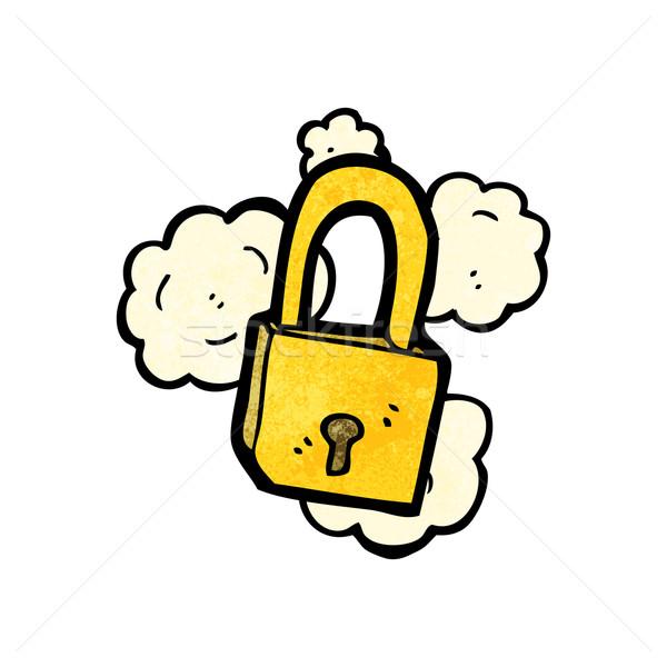 Cartoon kłódki tekstury strony szczęśliwy bezpieczeństwa Zdjęcia stock © lineartestpilot