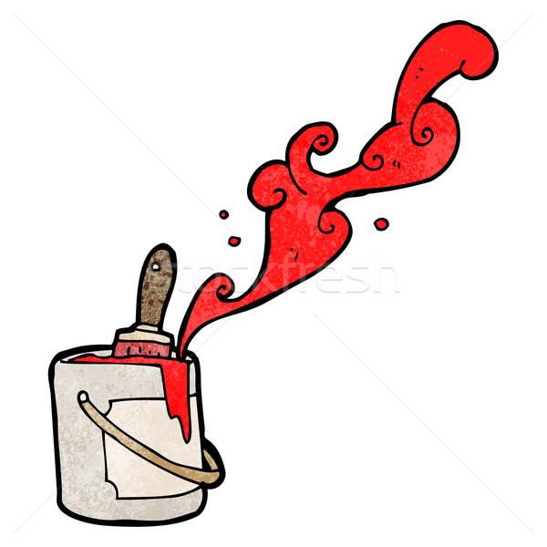 Secchio di vernice cartoon vernice arte retro disegno Foto d'archivio © lineartestpilot