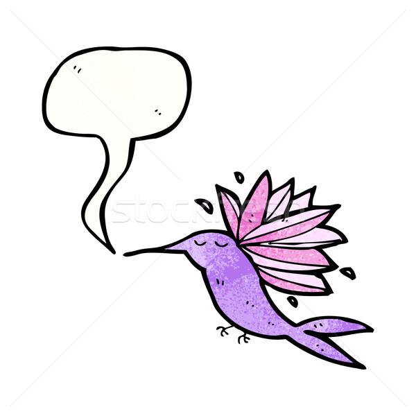 Rajz kolibri retro rajz énekel aranyos Stock fotó © lineartestpilot