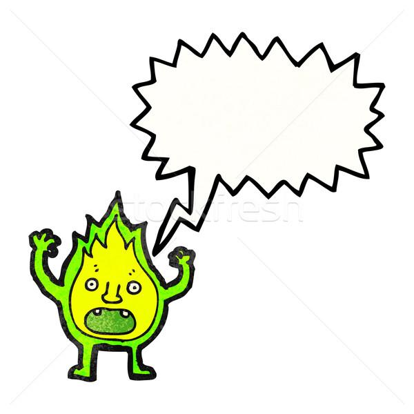 cartoon green fire creature with speech bubble Stock photo © lineartestpilot