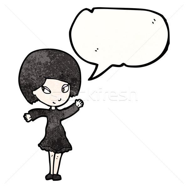 Karikatür goth kız konuşma balonu kadın Retro Stok fotoğraf © lineartestpilot