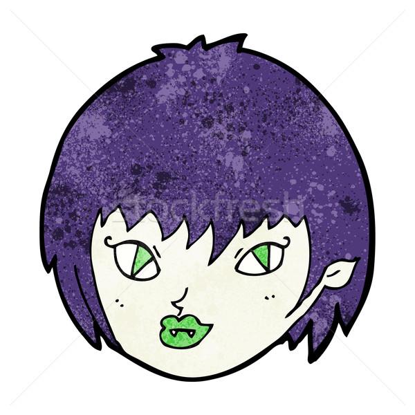 Stockfoto: Cartoon · vampier · meisje · gezicht · hand · ontwerp