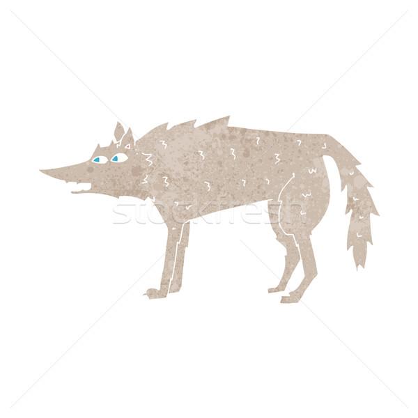 Cartoon волка стороны дизайна Crazy клипа Сток-фото © lineartestpilot