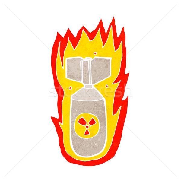 Desenho animado chamejante bomba mão fogo projeto Foto stock © lineartestpilot