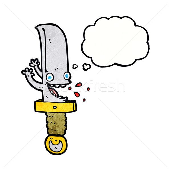 Louco faca balão de pensamento mão projeto Foto stock © lineartestpilot