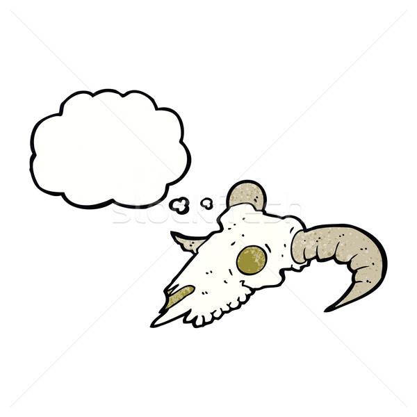 Stock foto: Karikatur · Widder · Schädel · Gedankenblase · Hand · Design